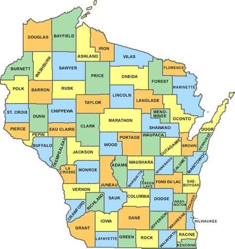 map of WI